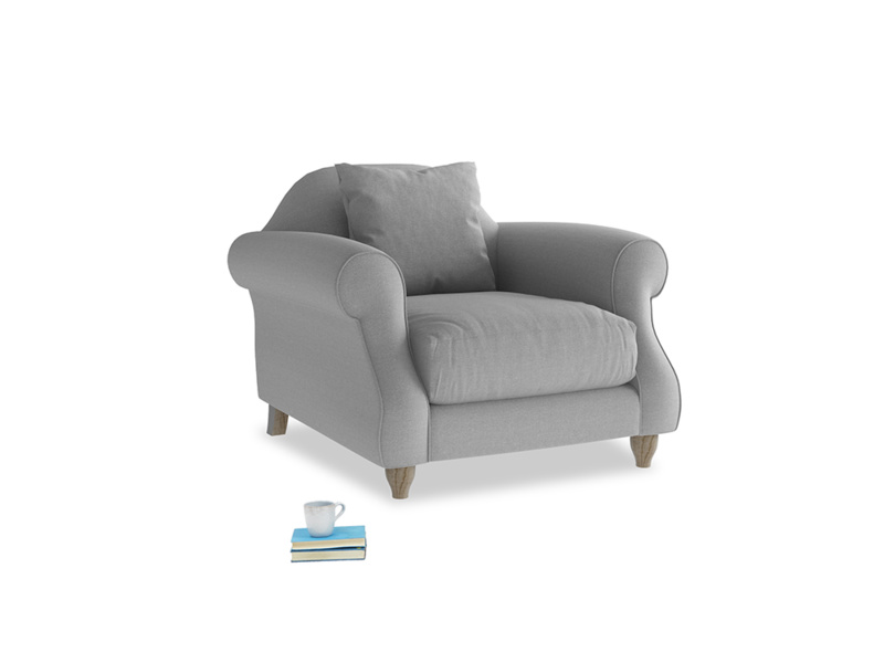 Sloucher Armchair in Magnesium washed cotton linen