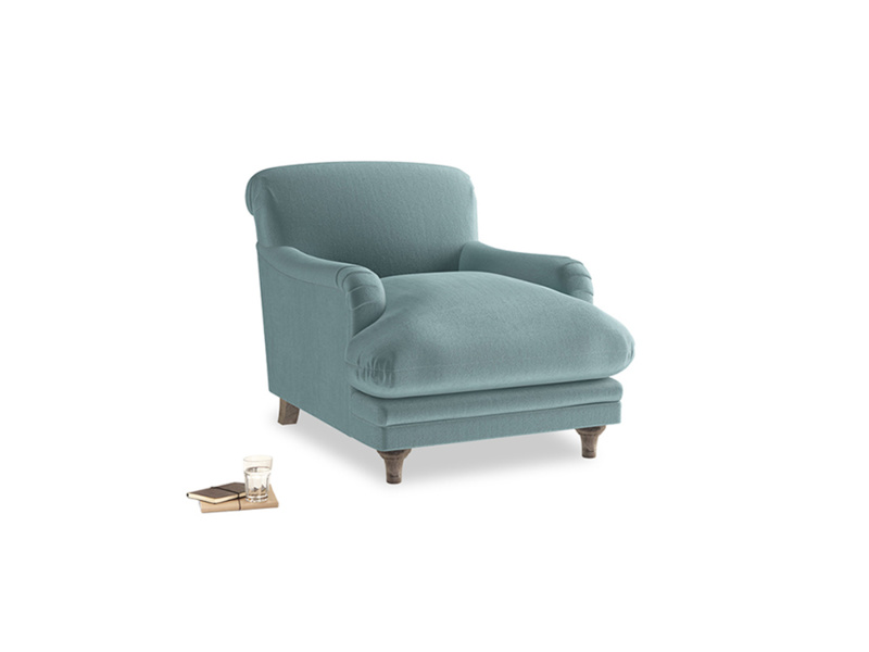 Pudding Armchair in Lagoon clever velvet