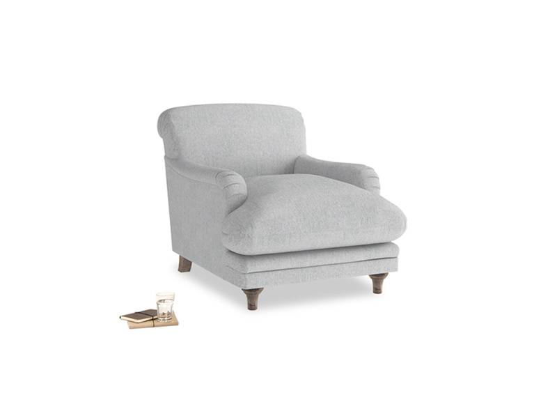 Pudding Armchair in Pebble vintage linen