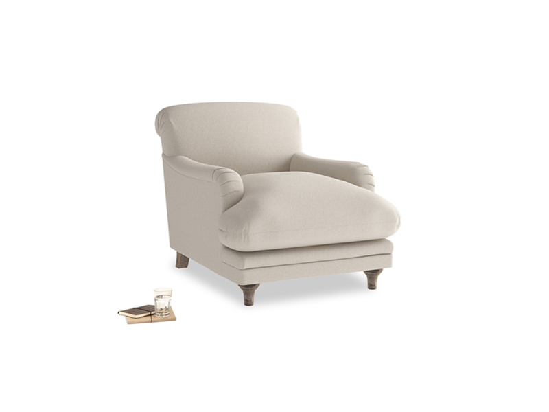 Pudding Armchair in Buff brushed cotton