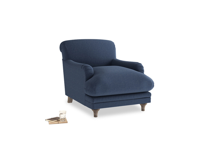 Pudding Armchair in Navy blue brushed cotton