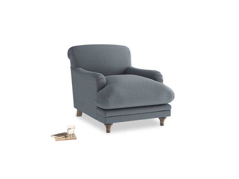 Pudding Armchair in Blue Storm washed cotton linen