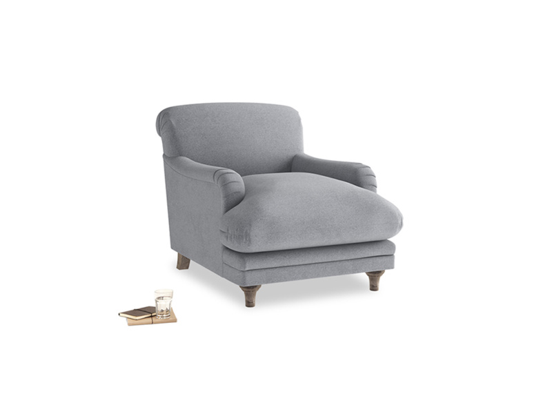 Pudding Armchair in Dove grey wool