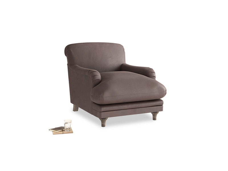 Pudding Armchair in Dark Chocolate beaten leather