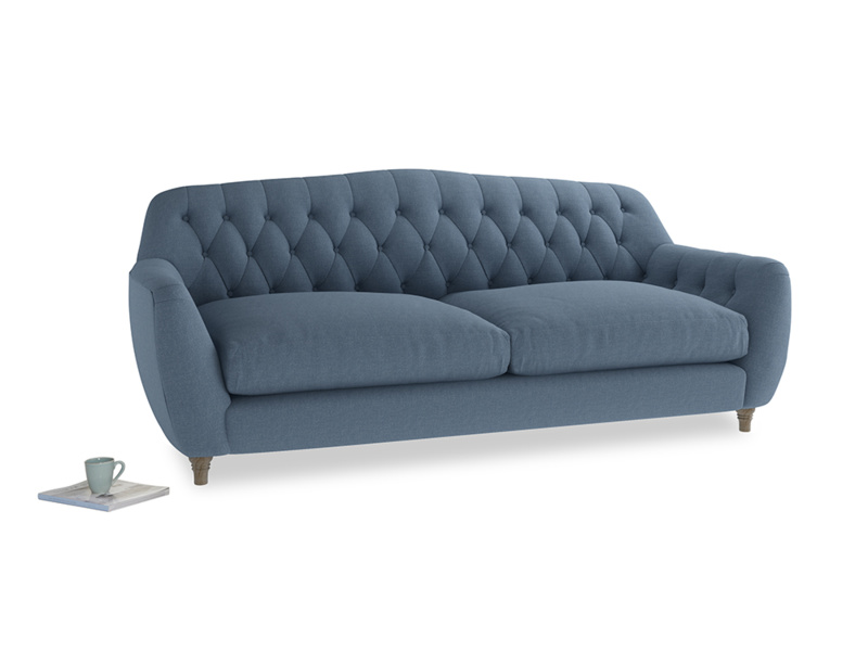 Large Butterbump Sofa in Nordic blue brushed cotton