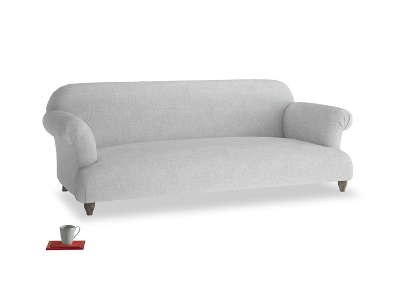 Large Soufflé Sofa in Pebble vintage linen