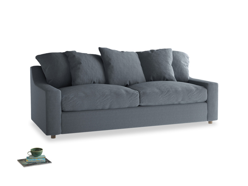 Large Cloud Sofa in Blue Storm washed cotton linen