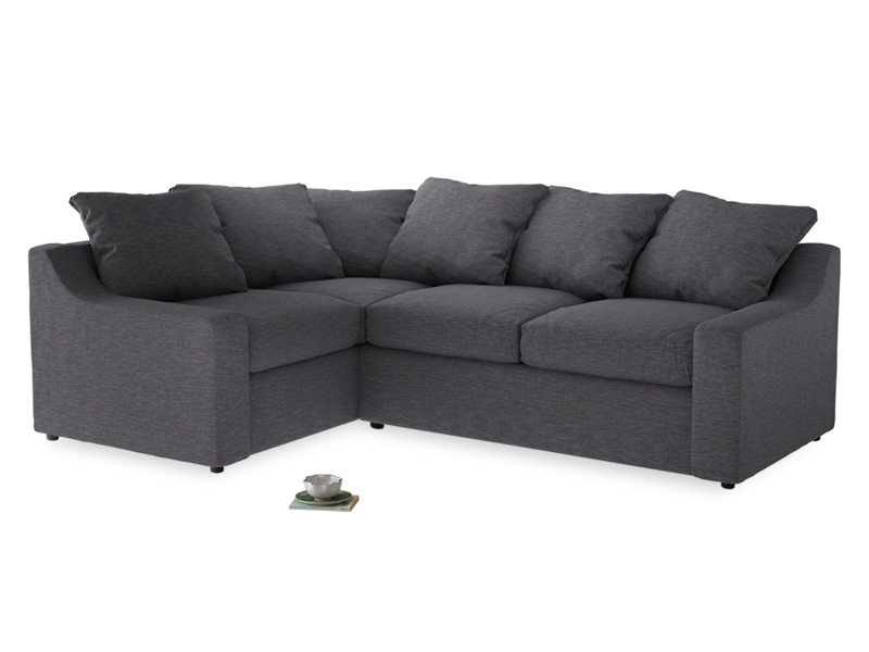 Large Left Hand Cloud Corner Sofa in Lead cotton mix