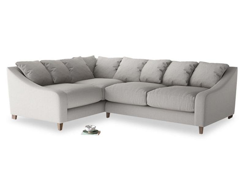 Large Left Hand Oscar Corner Sofa  in Wolf brushed cotton