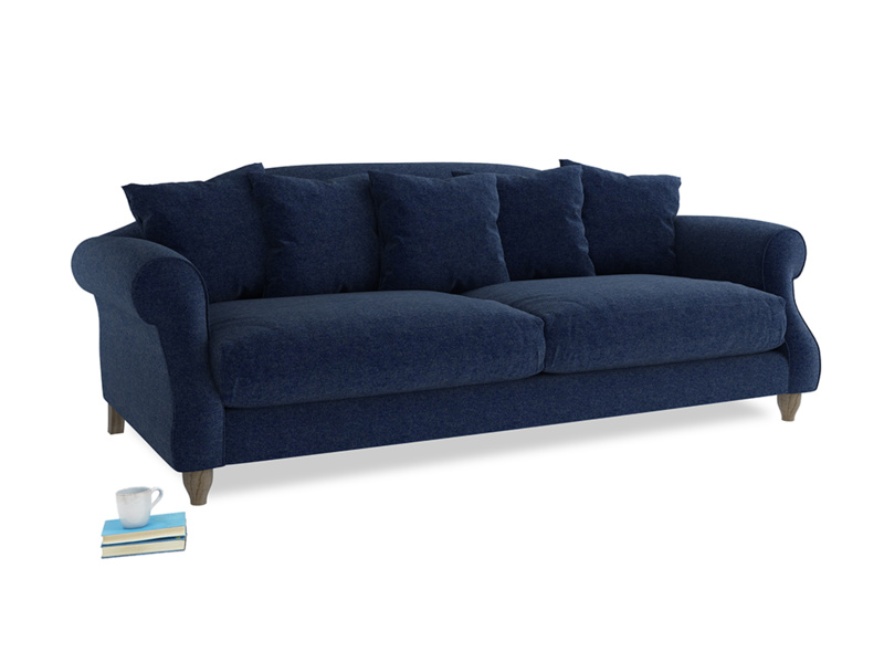 Large Sloucher Sofa in Ink Blue wool