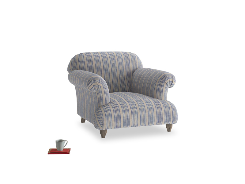 Soufflé Armchair in Brittany Blue french stripe