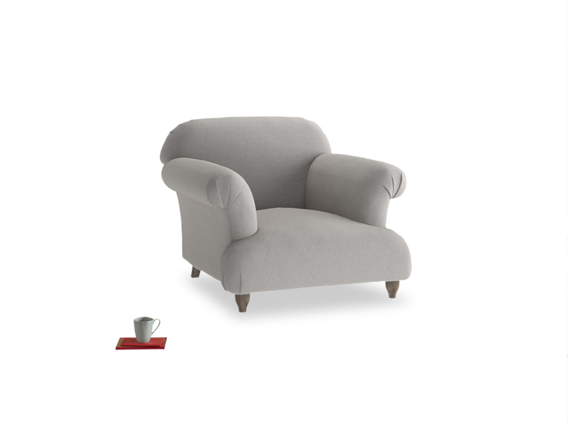 Soufflé Armchair in Wolf brushed cotton
