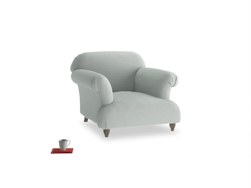Soufflé Armchair in French blue brushed cotton