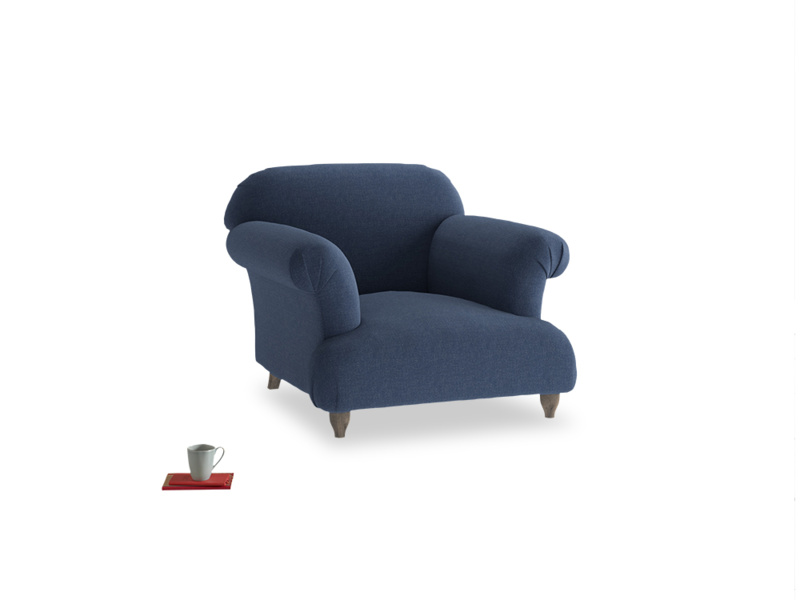 Soufflé Armchair in Navy blue brushed cotton