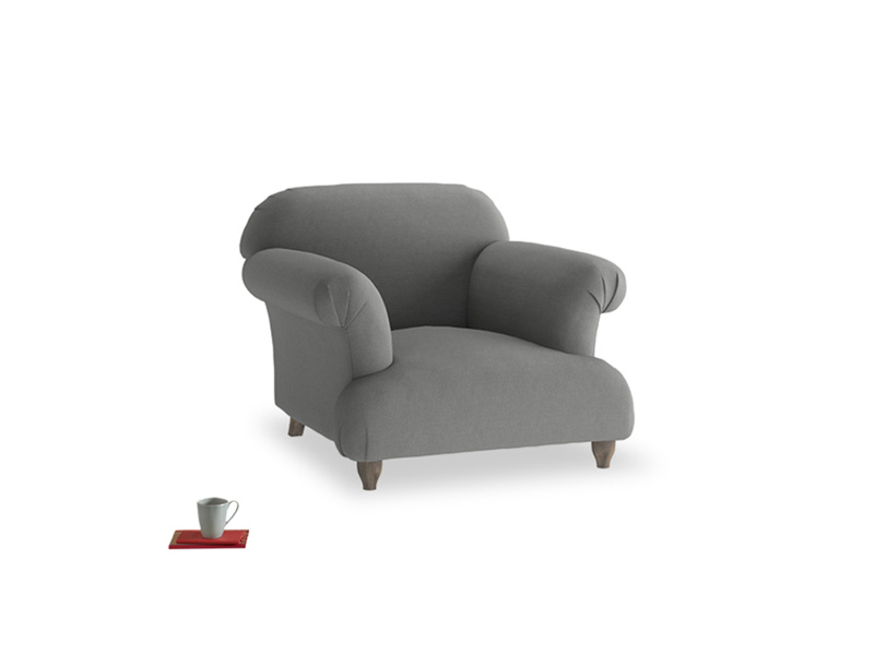 Soufflé Armchair in French Grey brushed cotton