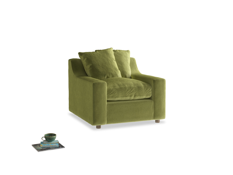 Cloud Armchair in Olive plush velvet
