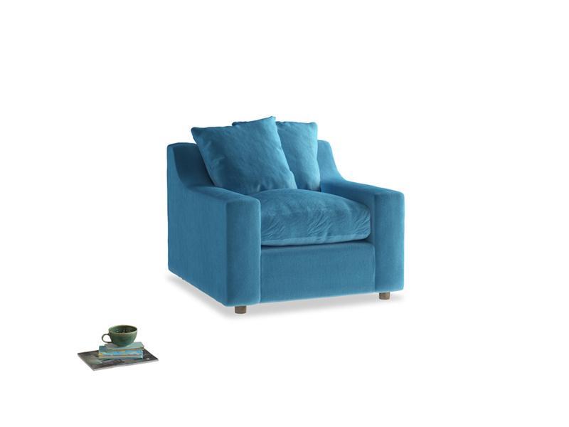 Cloud Armchair in Teal Blue plush velvet