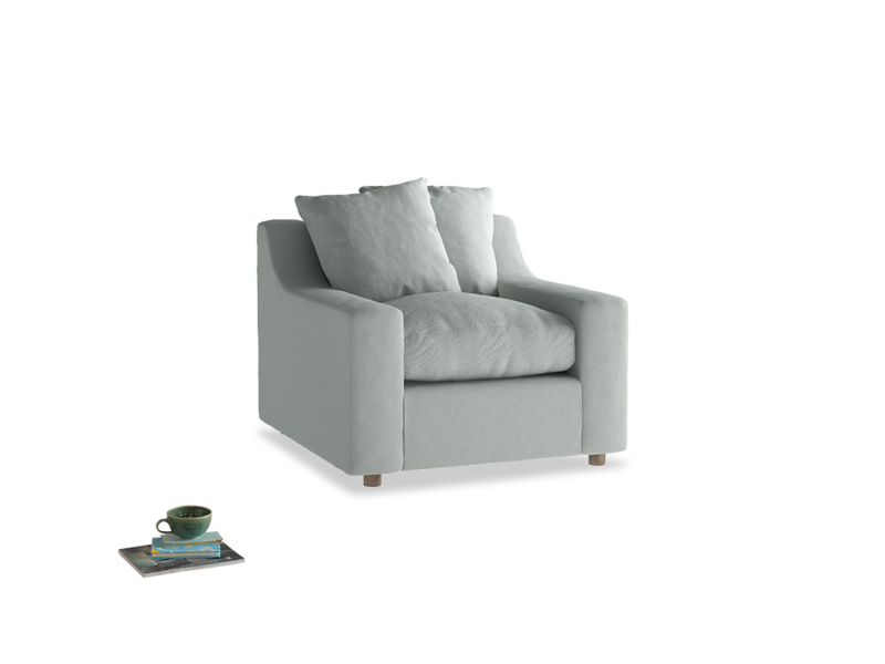 Cloud Armchair in French blue brushed cotton