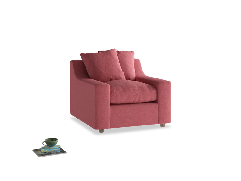 Cloud Armchair in Raspberry brushed cotton