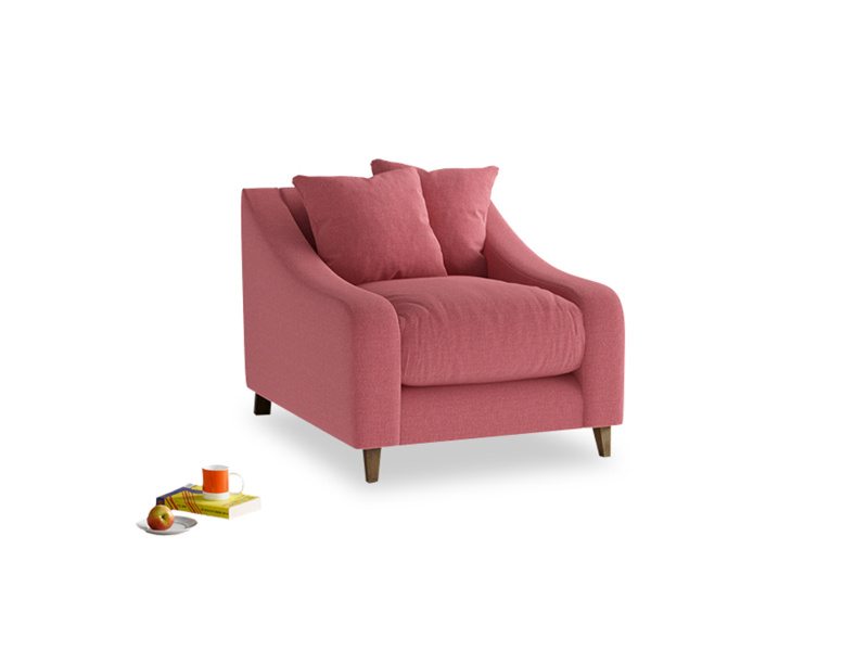 Oscar Armchair in Raspberry brushed cotton
