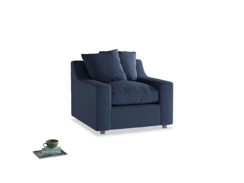 Cloud Armchair in Navy blue brushed cotton