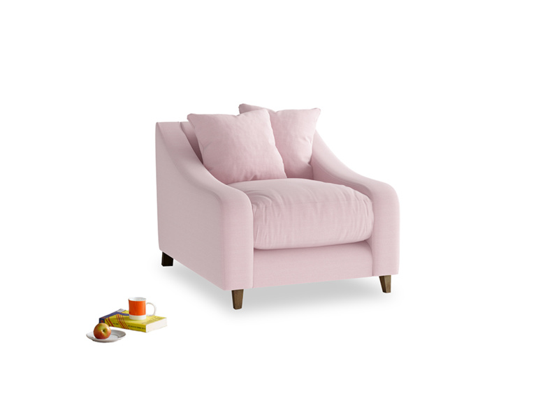 Oscar Armchair in Pale Rose vintage linen