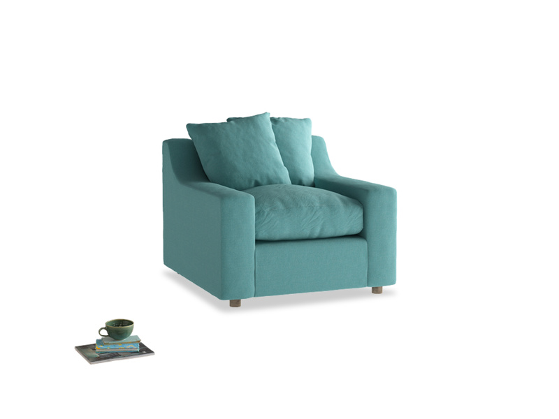 Cloud Armchair in Peacock brushed cotton