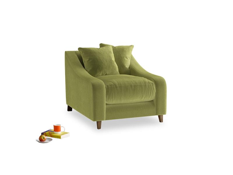 Oscar Armchair in Olive plush velvet