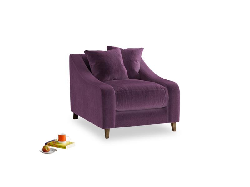 Oscar Armchair in Grape clever velvet