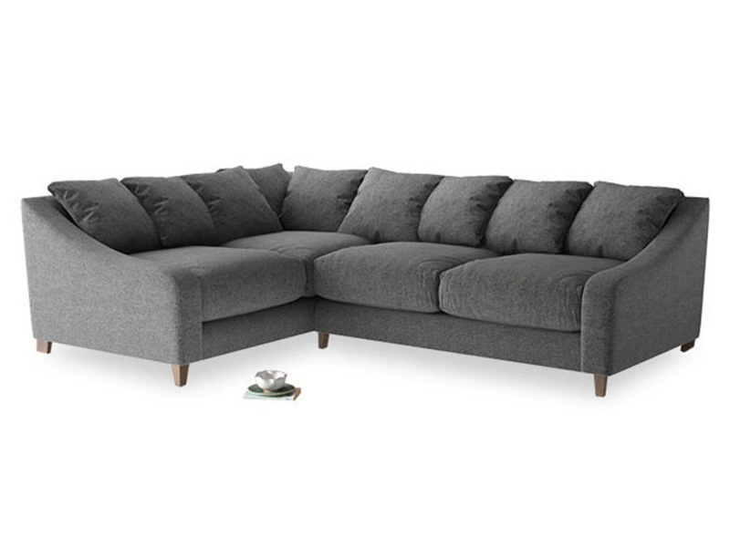 Large Left Hand Oscar Corner Sofa  in Shadow Grey wool