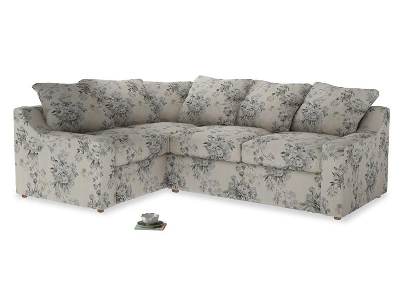 Large Left Hand Cloud Corner Sofa in Dusty Blue vintage rose