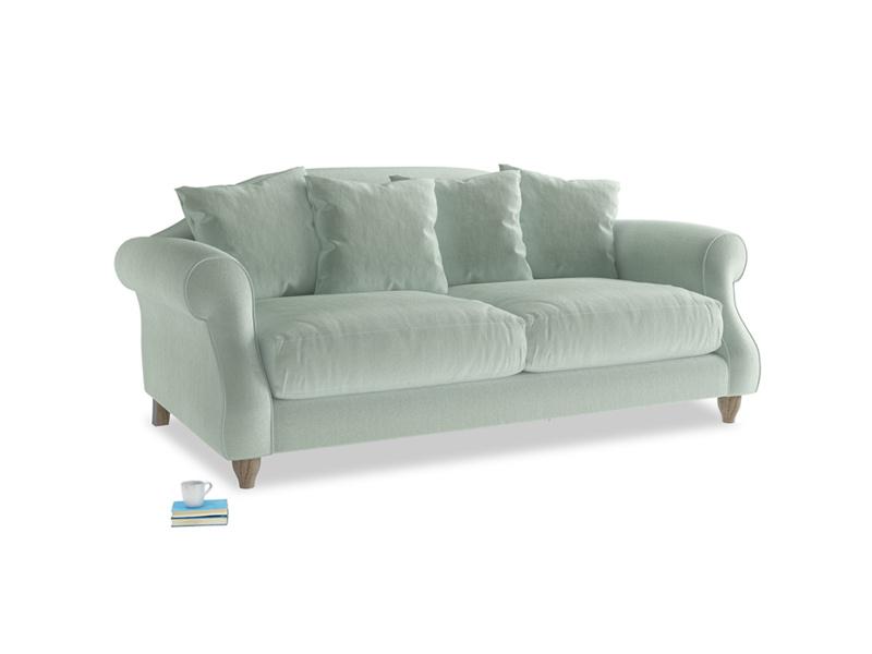 Medium Sloucher Sofa in Mint clever velvet