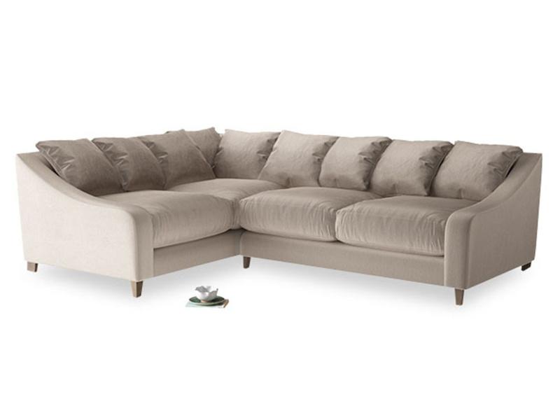 Large Left Hand Oscar Corner Sofa  in Fawn clever velvet