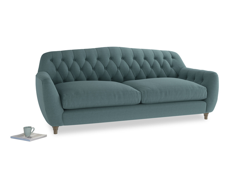 Large Butterbump Sofa in Marine washed cotton linen