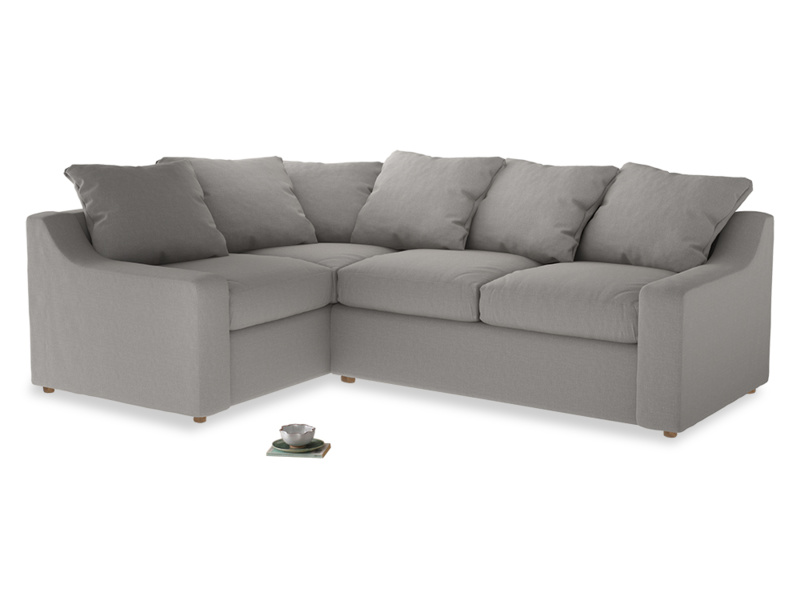 Large left hand Cloud Corner Sofa Bed in Wolf brushed cotton
