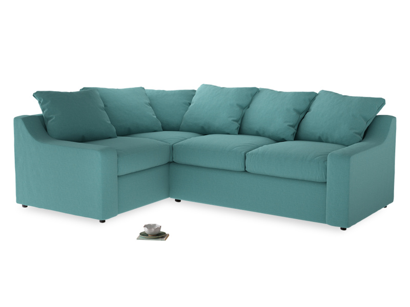 Large Left Hand Cloud Corner Sofa in Peacock brushed cotton