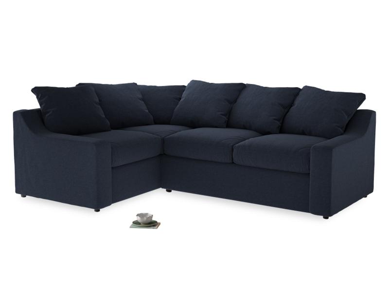 Large Left Hand Cloud Corner Sofa in Indigo vintage linen