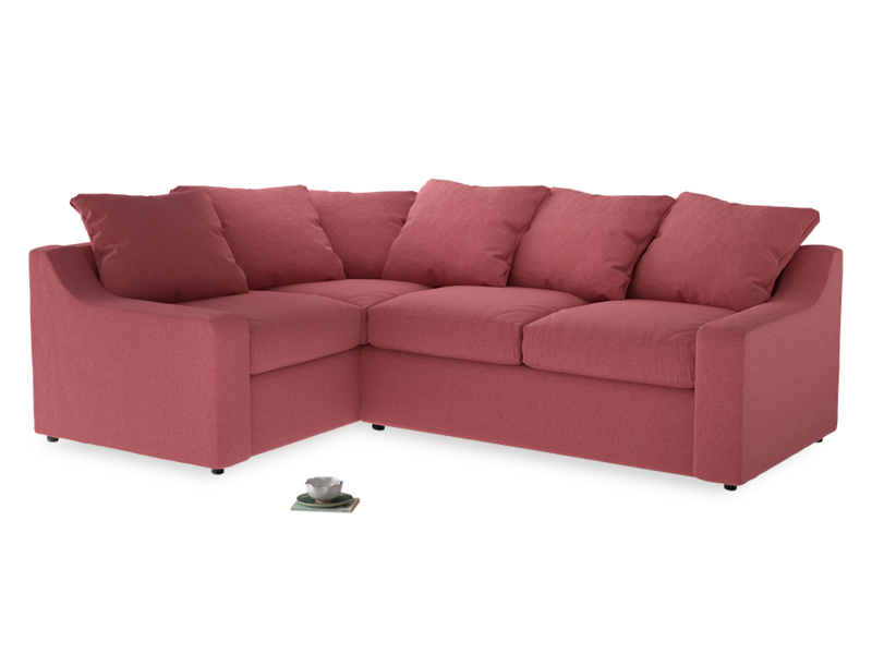 Large Left Hand Cloud Corner Sofa in Raspberry brushed cotton