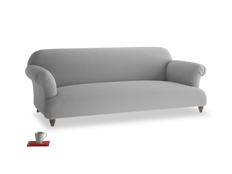 Large Soufflé Sofa in Magnesium washed cotton linen