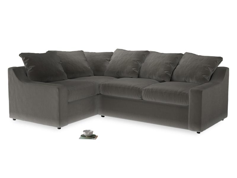 Large Left Hand Cloud Corner Sofa in Slate clever velvet