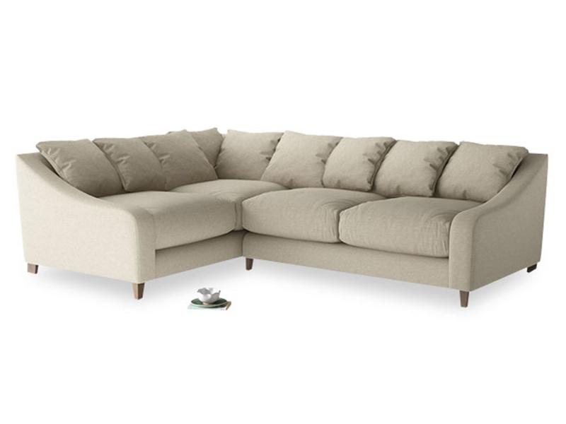 Large Left Hand Oscar Corner Sofa  in Jute vintage linen