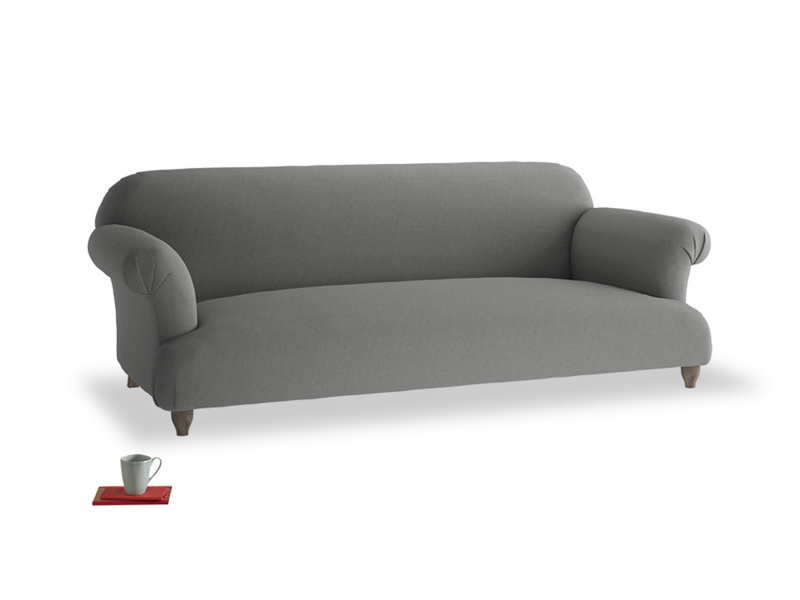 Large Soufflé Sofa in French Grey brushed cotton