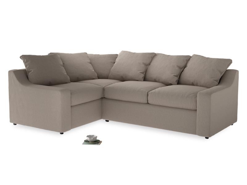 Large Left Hand Cloud Corner Sofa in Driftwood brushed cotton