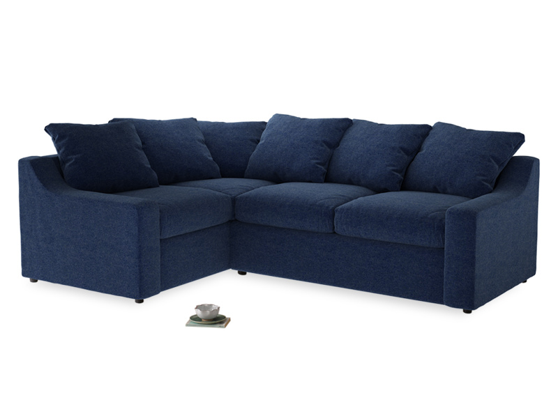 Large Left Hand Cloud Corner Sofa in Ink Blue wool