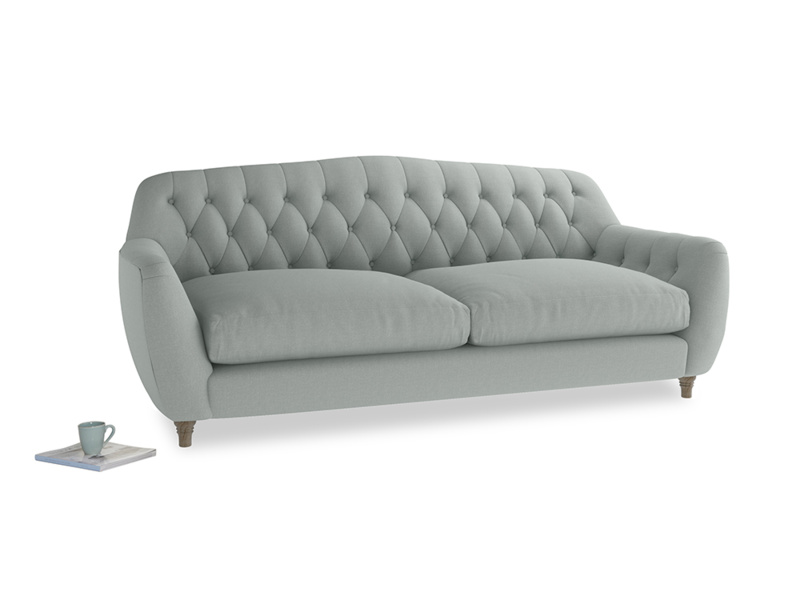Large Butterbump Sofa in French blue brushed cotton