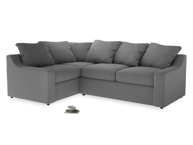 Large Left Hand Cloud Corner Sofa in Gun Metal brushed cotton