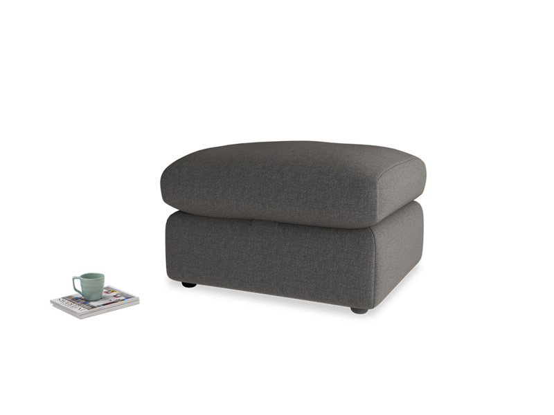 Chatnap Storage Footstool in Old Charcoal brushed cotton