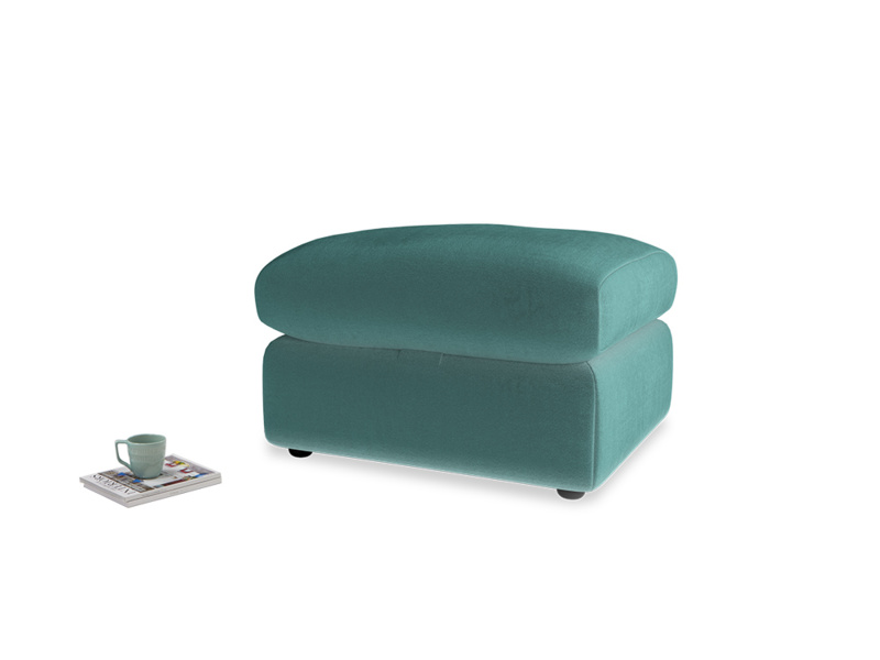 Chatnap Storage Footstool in Real Teal clever velvet