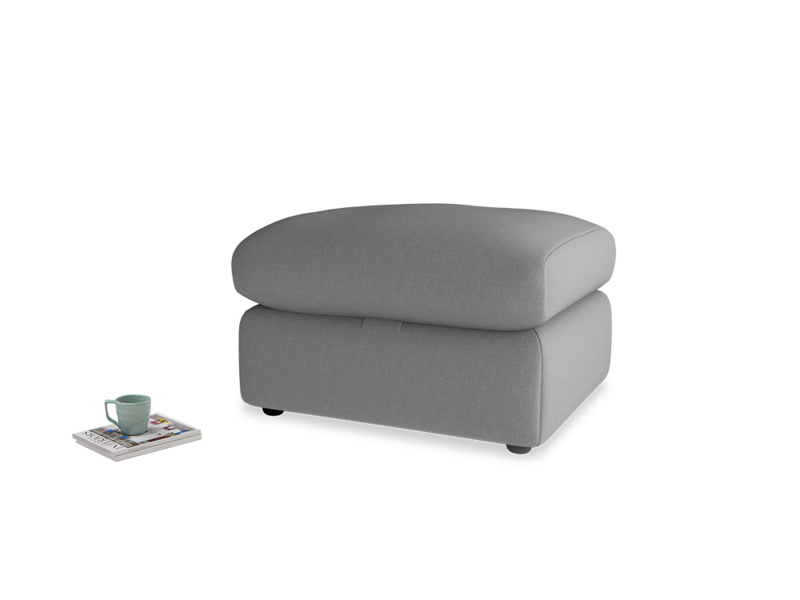 Chatnap Storage Footstool in French Grey brushed cotton