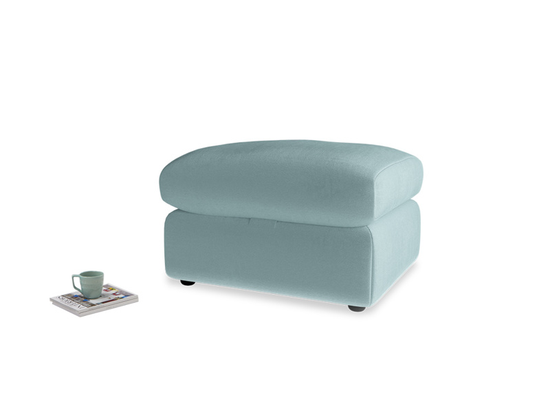 Chatnap Storage Footstool in Lagoon clever velvet